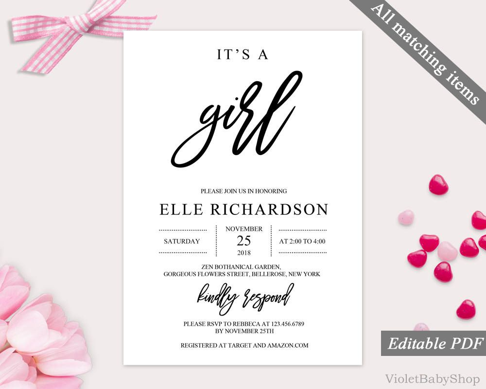 It\'s a Girl Invitation Template. Printable Baby Shower Invitation ...
