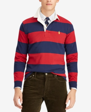 53986540056 Polo Ralph Lauren Men's The Iconic Rugby Classic Fit Shirt - Eaton Red/  Newport Navy S