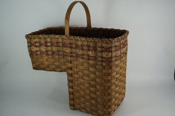 Stairs Basket W/ Handle Handmade Handled Basket By Meghandrago