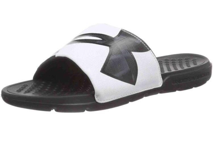 b37ff96dcd65  24.99 Under Armour UA Strike Warp Mens Size 13 Slides Sandals Black White  NEW!  underarmour  Slides