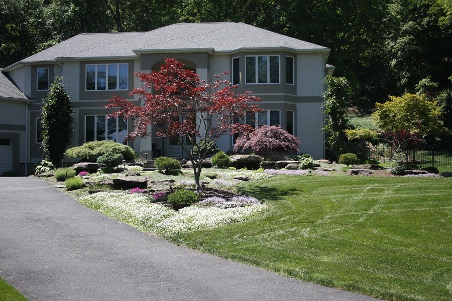 Westchester ny front yard landscape this front yard for Garden design with japanese maple