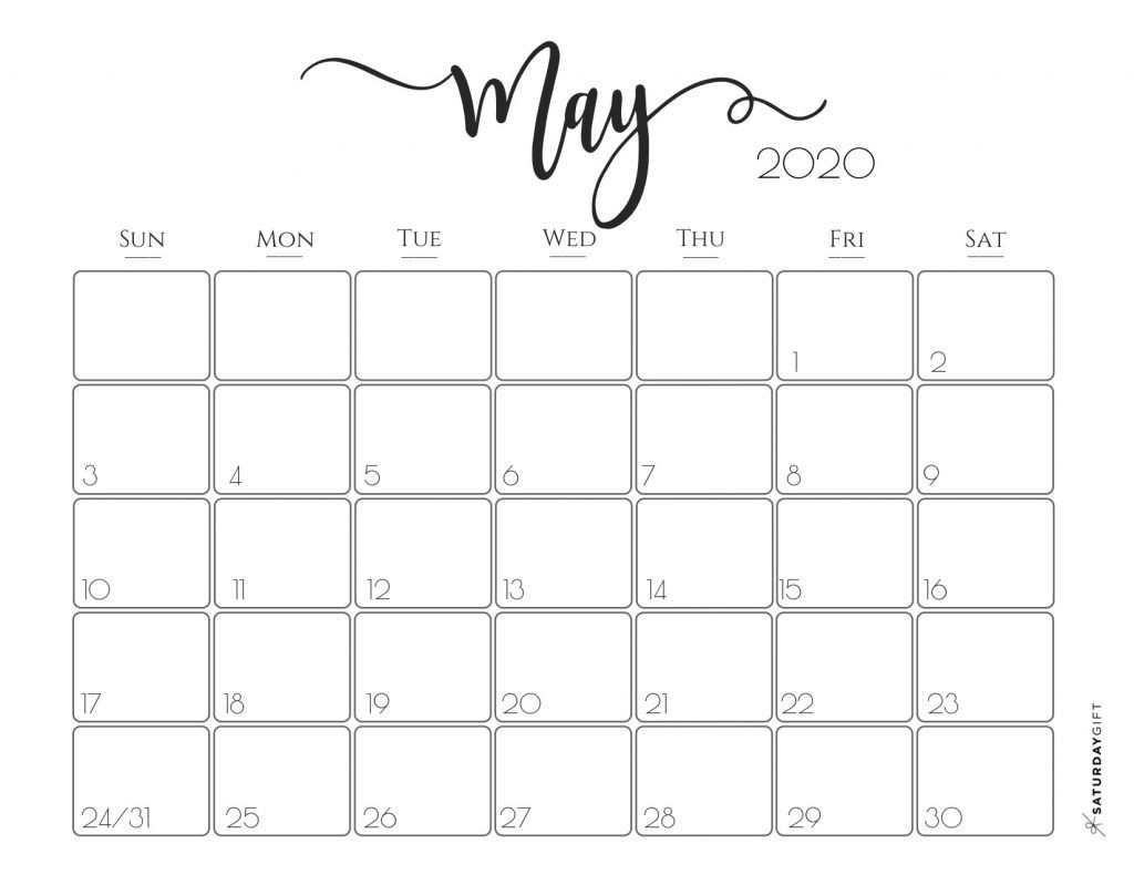 Blank May 2020 Calendar Template In 2020 Printable Calendar