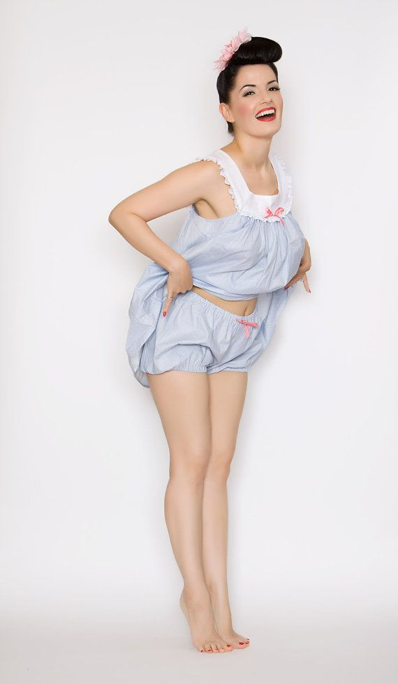 adef3bba305 1950s+Cotton+Babydoll+Nightie+Mini+Bloomer+by+TheDomesticDame ...