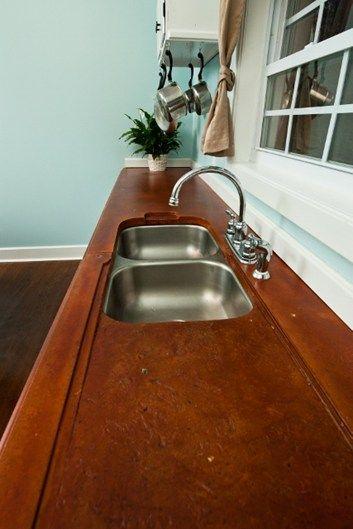 Perfect Red Concrete, Textured Drainboard Concrete Countertops Reformed Concrete  LLC Quarryville, PA