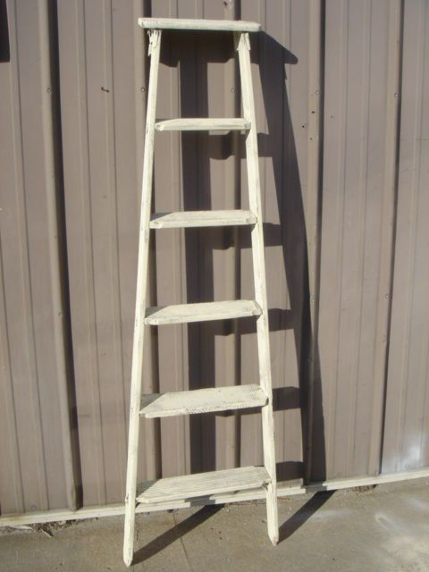 Antique Tall 7 Step Ladder Choose A Vintage By Arusticgarden 129 95 Step Ladders Wooden Ladder Ladder Shelf