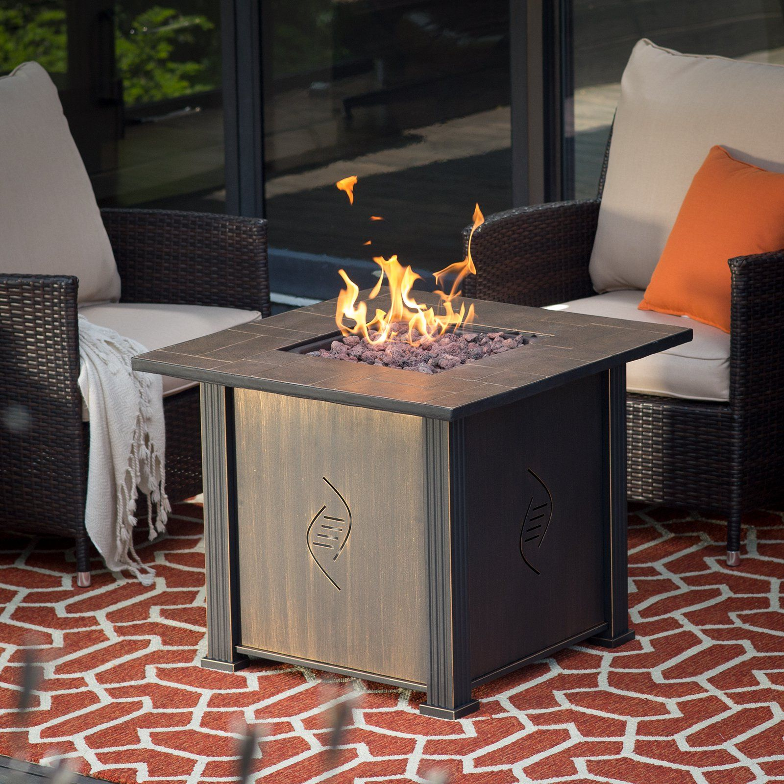small fire table endless summer bond lari gas fire table with cover from hayneedlecom screened porch