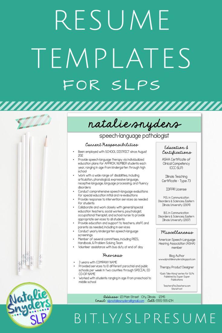 Slp teacher resume and cover letter templates fully