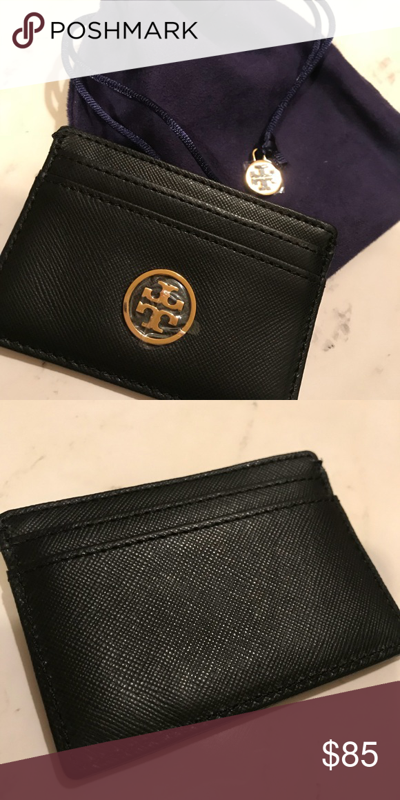 sale retailer 29a1e d2fab NWOT Tory Burch Robinson Slim Card Case Black New without Tags A ...