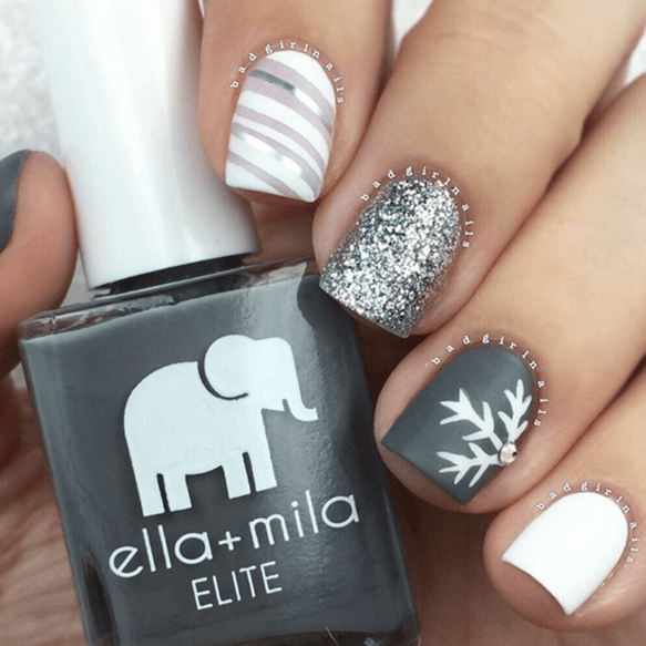 Silver, Gray And White Snowflake Theme | Nails | Pinterest | Esmalte ...