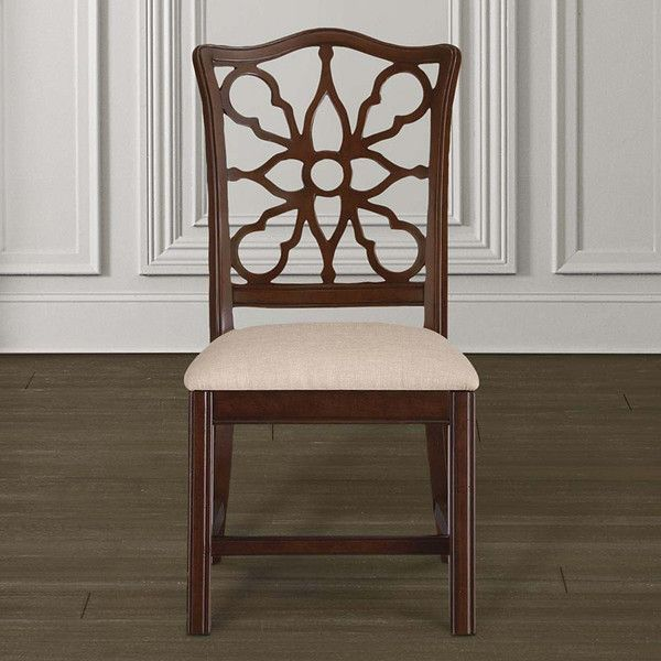 """Bassett Furniture Moultrie Park Pierced Back Side Chair.  Order your piece at Jacobs Upholstery. Inspired by Charleston """"Finds"""" from the famous antique shops on King Street, as well as the local Auction houses, Moultrie Park speaks to a traditional lifestyle with a casual twist. Design elements include traditional motifs, as well as the use of natural cane that gives Moultrie Park that relaxed livable style."""