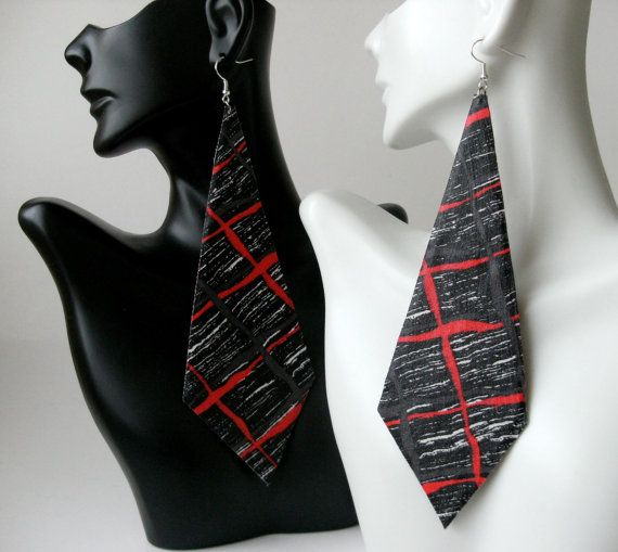 Black, red, and white fabric earrings Tie Shape on Etsy, $16.50