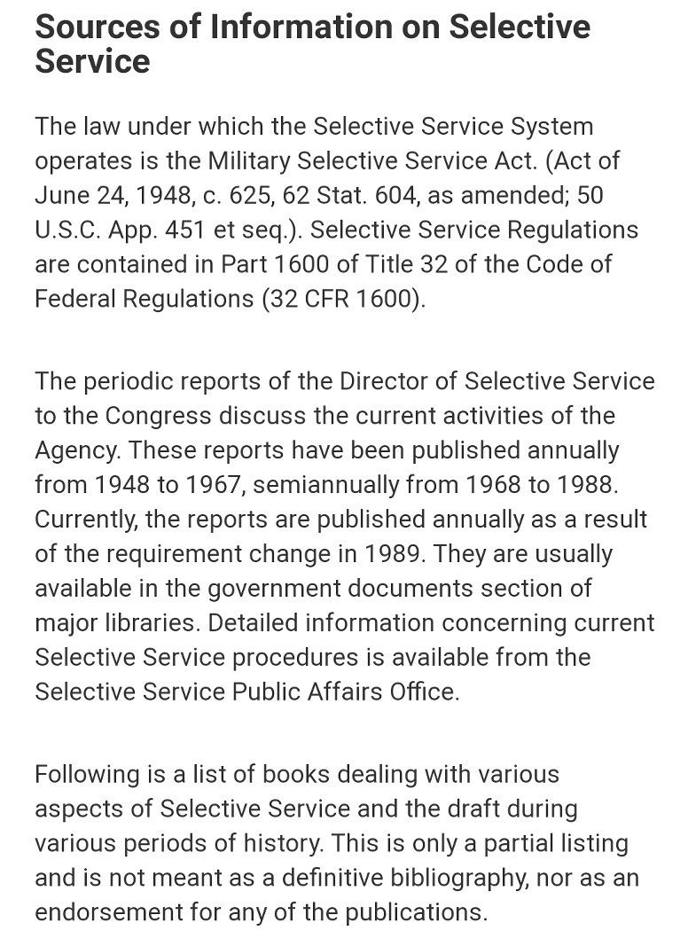 Sources Of Information About Selective Service Conscription And Draft In The U In 2020 New York City Central Park Code Of Federal Regulations University Of Minnesota