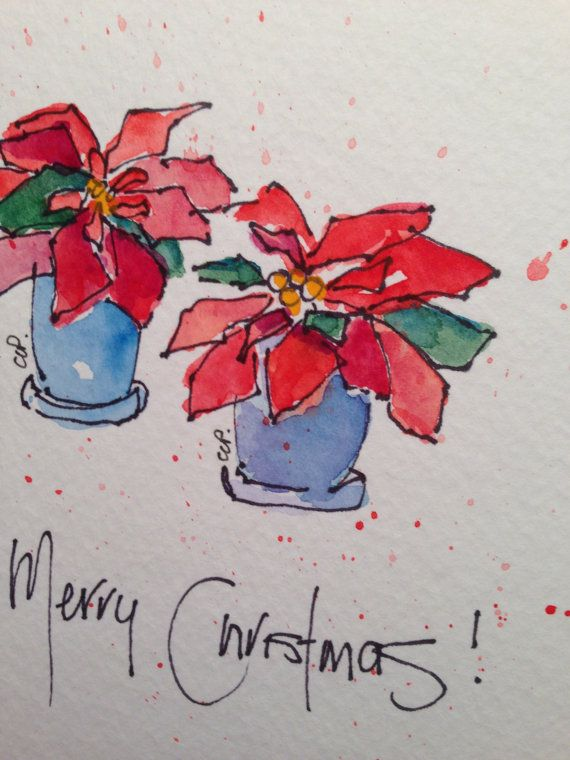 Poinsettia Watercolor Card By Gardenblooms On Etsy Aquarell