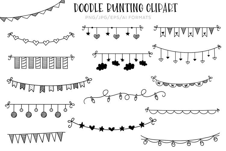 Doodle Bunting Vector Clipart In 2021 Clip Art Doodles Drawing Tutorial Easy