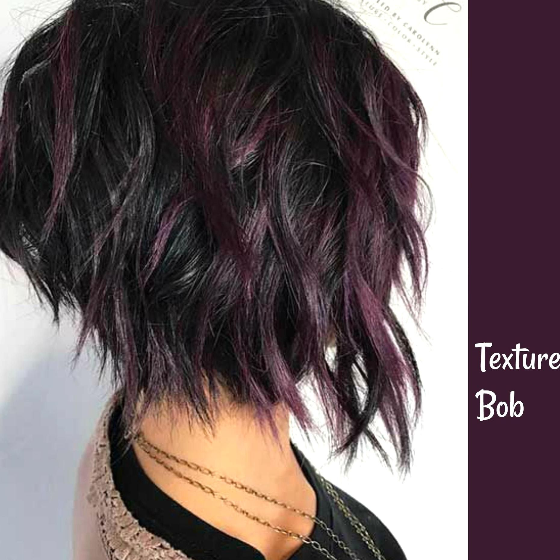 Textured Bob With Purple Highlights On Dark Hair In 2020 Short Messy Haircuts Thick Hair Styles Hair Styles