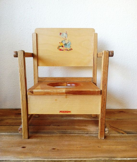 Vintage wooden baby / toddler / child potty chair, 1940's. I was born in  1947 and this sure looks like my potty chair. - Vintage Wooden Baby / Toddler / Child Potty Chair, 1940's. I Was