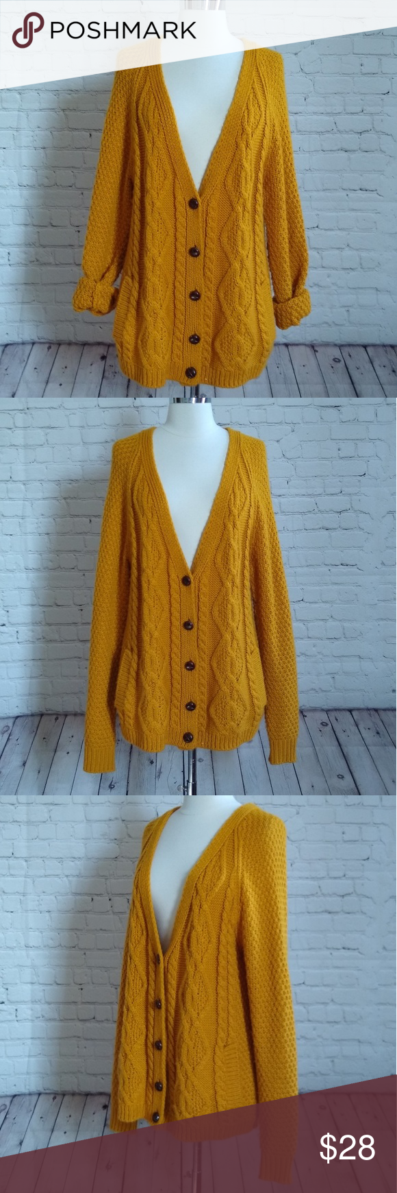 e94374f6e5 UO BDG mustard yellow boyfriend cardigan M Adorable boyfriend cardigan by  BDG from urban outfitters has a loose oversized fit with faux wooden  buttons.