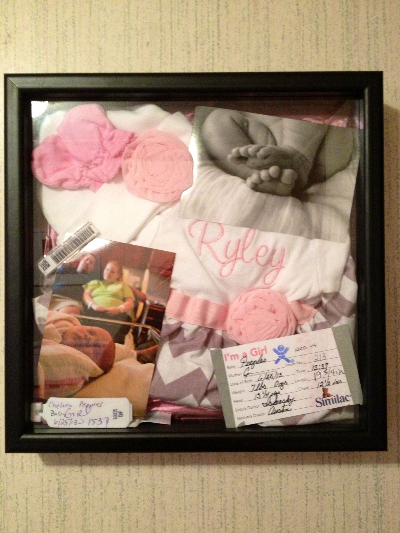 Newborn Shadow Box / Baby Collage The background is a