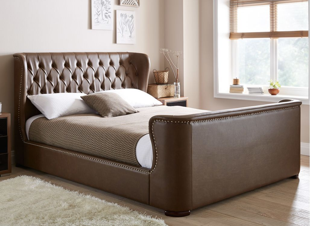 Brussels Brown Leather Bed Frame Leather Bed Frame Brown
