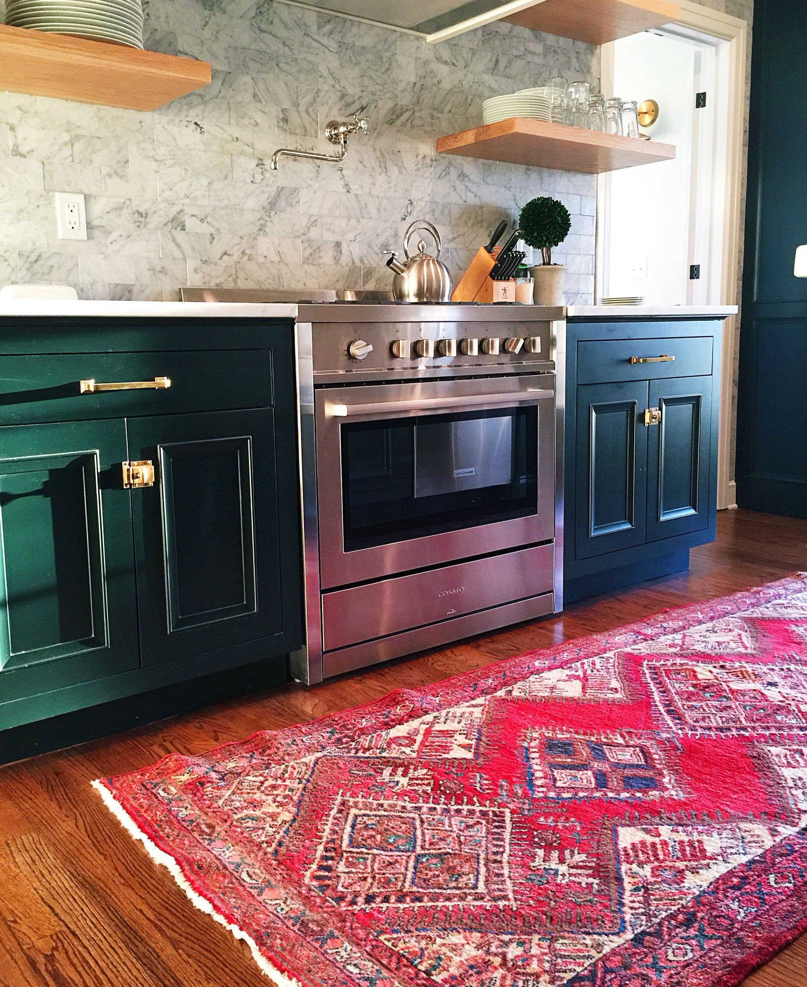Forest Green Kitchen: Color Inspiration: Forest Green Painted Custom Cabinets