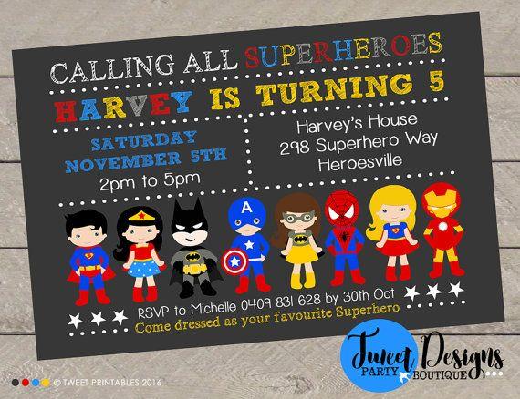 Super Heros Garcon Invitation Danniversaire Imprimable Inviter Batman Fille Assortis Et