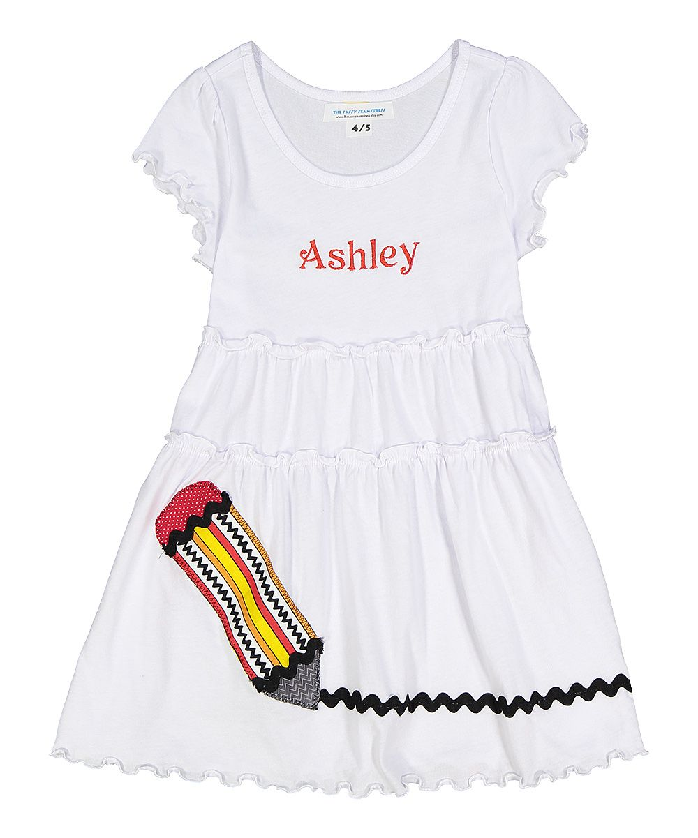 White Appliqué Pencil Personalized Dress - Toddler & Girls