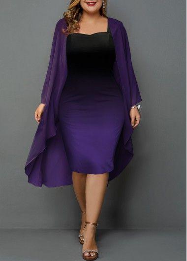 Photo of Plus Size Purple Dress Plus Size Chiffon Cardigan and Gradient Sheath Dress