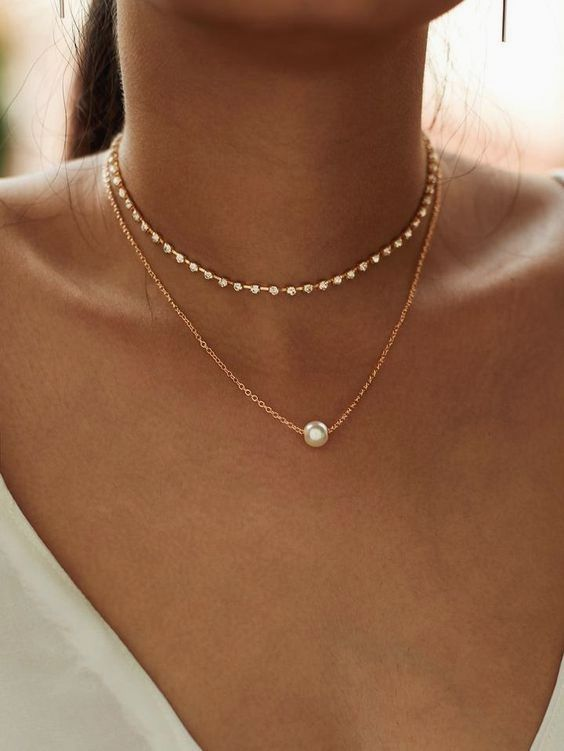 Photo of Faux Pearl Pendant Necklace and Rhinestone Choker 2pc