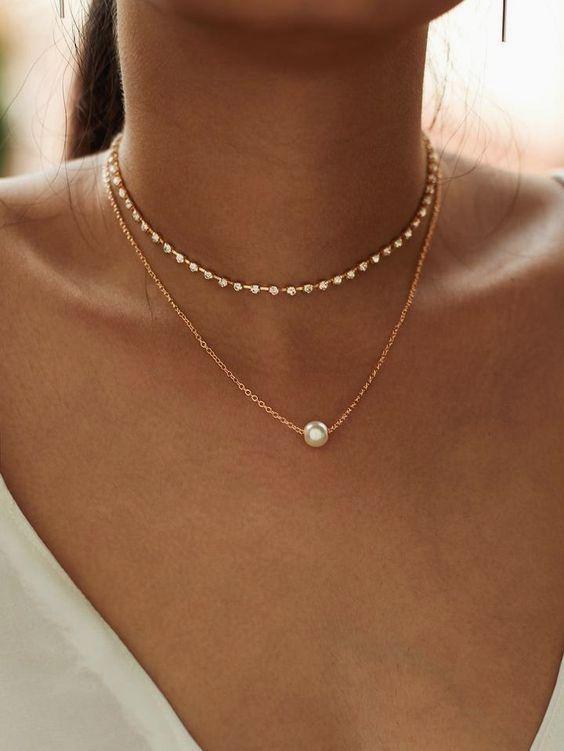 Fake Pearl Pendant Necklace and Rhinestone Choker 2pc