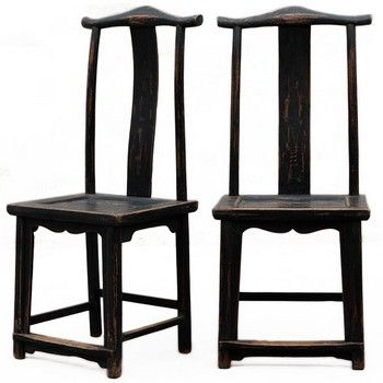 Pair Of Chinese Yoke Back Chairs In Black Lacquer, From Shanxi Province,  Part Of The Shimu Chinese Antique Furniture Collection