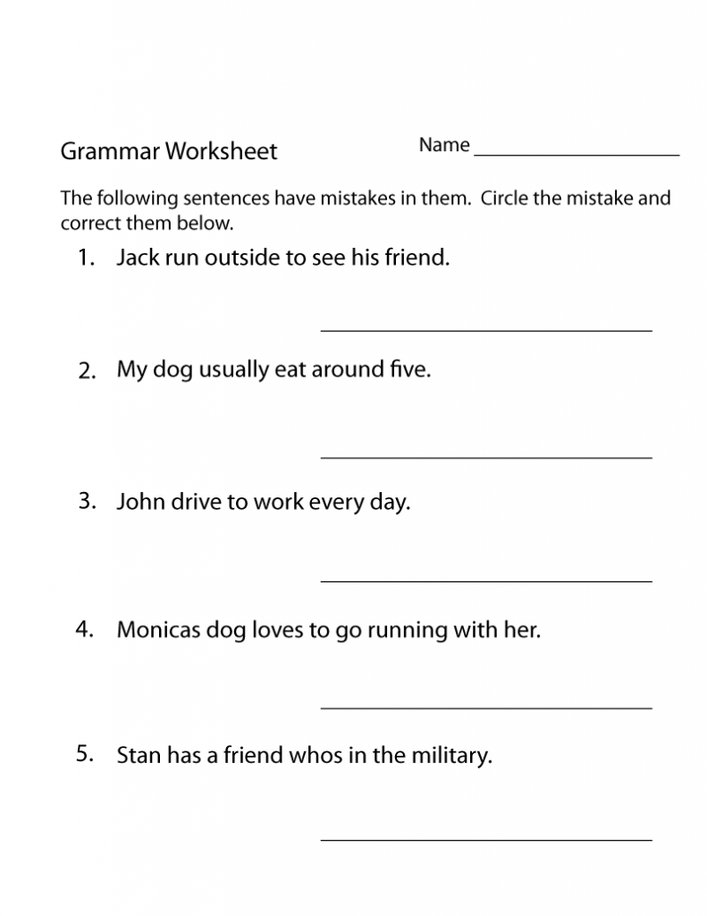3rd Grade Worksheets - Best Coloring Pages For Kids   Grammar worksheets [ 1024 x 791 Pixel ]