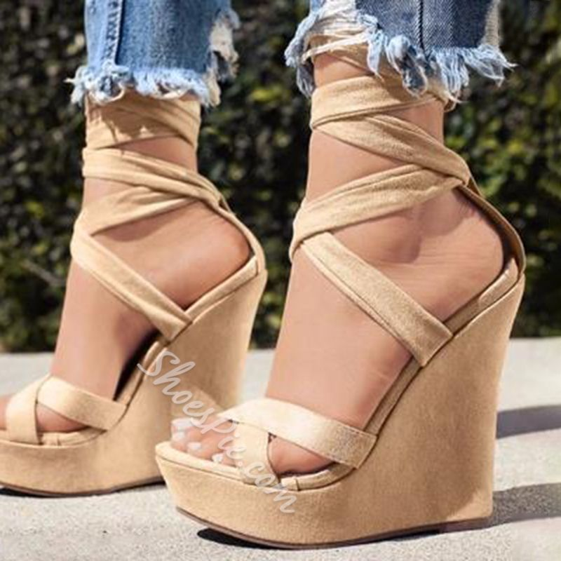 73096e26b0c Shoespie Suede Strappy Lace Up Wedge Sandals