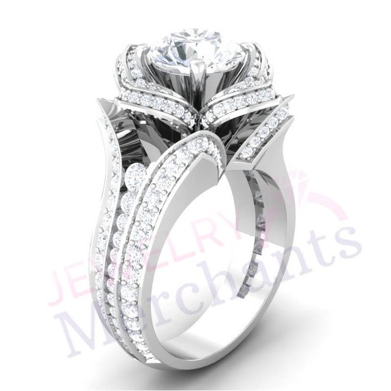 Lotus Flower Engagement Ring 335 Ct Round Lab Made White Sapphire