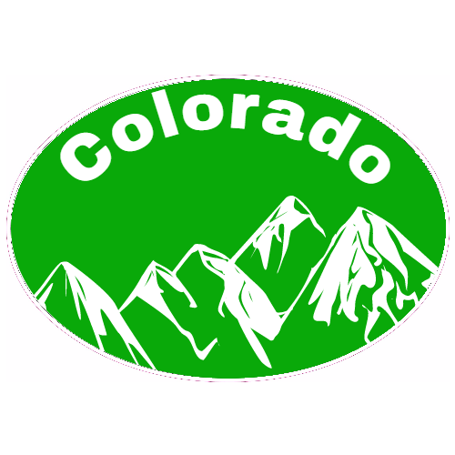 Custom stickers · colorado mountain green oval decal