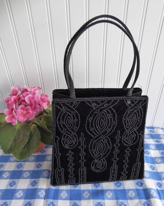 Vintage Black Velvet Beaded Purse Handbag 1980s USA Beautifully Made Art Nouveau Revival