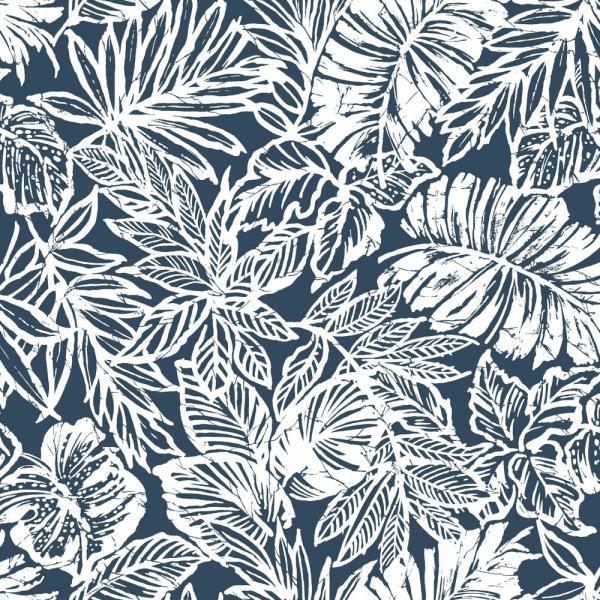 Roommates Batik Tropical Leaf Peel And Stick Wallpaper Covers 28 18 Sq Ft Rmk11437wp The Home Depot Tropical Leaves Peel And Stick Wallpaper Peelable Wallpaper