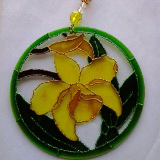 Mandala Orquídea 15cm - vidro Www.capembas.com.br/catalogo/