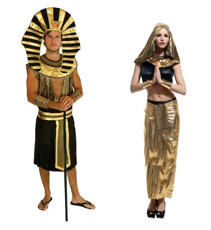 Chemical Fibre Prince of Egypt and Ancient Egyptian Queen Halloween Cosplay Costume Stage Clothing for Lovers