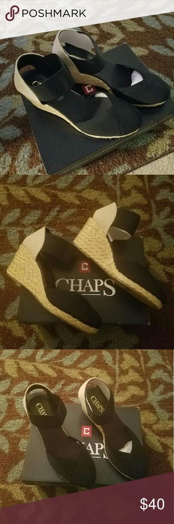 Chaps Espadrille Sandal Brand new, never worn.  Black size 6 Chaps Shoes Espadrilles