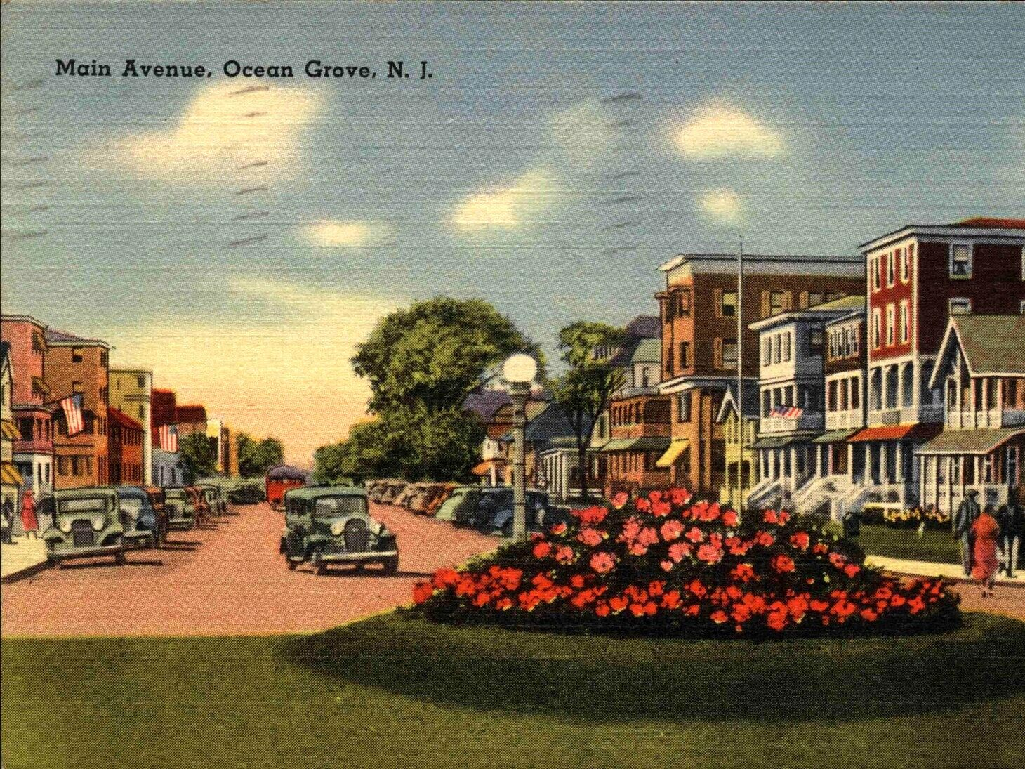 Ocean Grove NJ, New Jersey, Main Avenue, c1940s Vintage Modern Greeting Card NCC000573 by markopostcards on Etsy