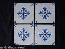 ancien carreau de faience x 4 fleurs de lys ponchon desvres fourmaintreaux desvres pinterest. Black Bedroom Furniture Sets. Home Design Ideas