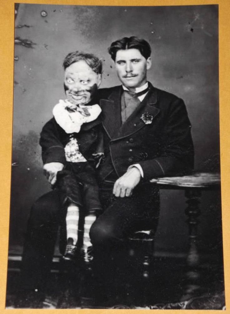 FREAKY VENTRILOQUIST DOLL Vintage Photo Weird 1 ODD CIRCUS Pic Image Strange I44