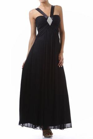 Wide Strap Black Chiffon Semi Formal Dress Long Empire Waist $114.99