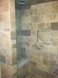 Natural Stone Tile Flooring Looks Great Through Out This Shower