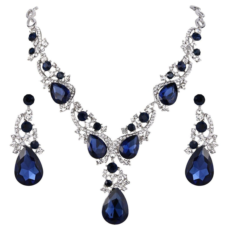 Teardrop Statement Necklace Silver Tone Sapphire Color Cs185q25646 Silver Necklace Statement Crystal Statement Necklace Jewelry Sets