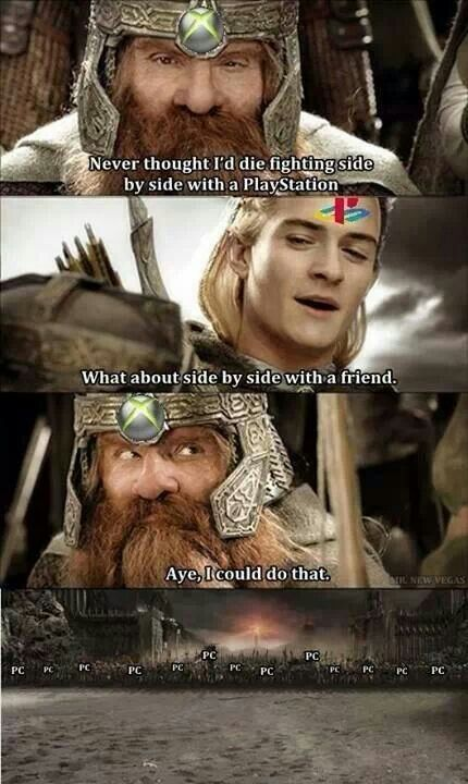 Consolers vs pcers This made me laugh so hard :D lol PC is Sauron's side
