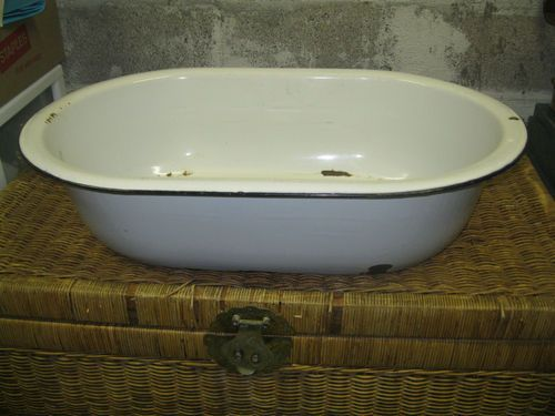 Details About White Enamelware With Black Trim Amp Handles Wash Basin Baby Bath Tub