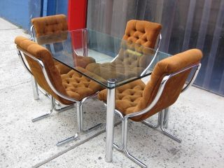 70s Vintage Mid Century Modern Milo Baughman Style Chrome Dining ...