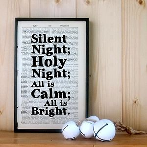 Silent Night Framed Christmas Word Art - christmas home accessories
