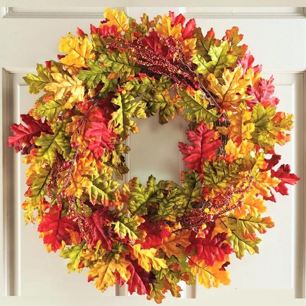 22 inch Autumn Harvest Fall Leaves Wall Door Wreath Rattan Twig ...